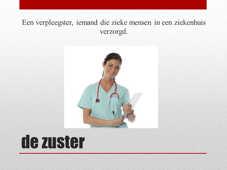 Een verpleegster, iemand die zieke mensen in een ziekenhuis verzorgd.