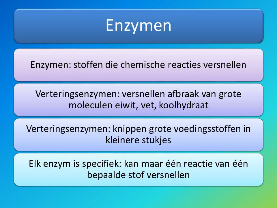 Enzymen Enzymen: stoffen die chemische reacties versnellen