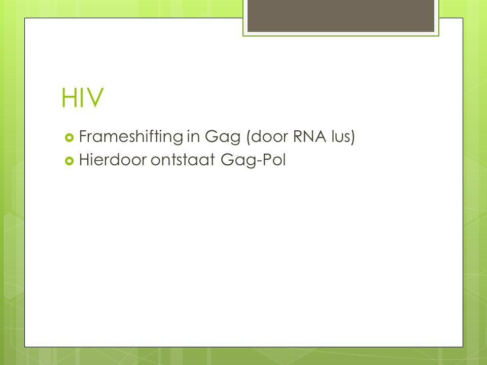 HIV Frameshifting in Gag (door RNA lus) Hierdoor ontstaat Gag-Pol