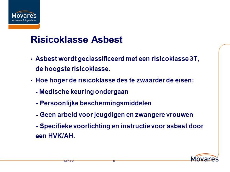 Risicoklasse Asbest Asbest wordt geclassificeerd met een risicoklasse 3T, de hoogste risicoklasse.