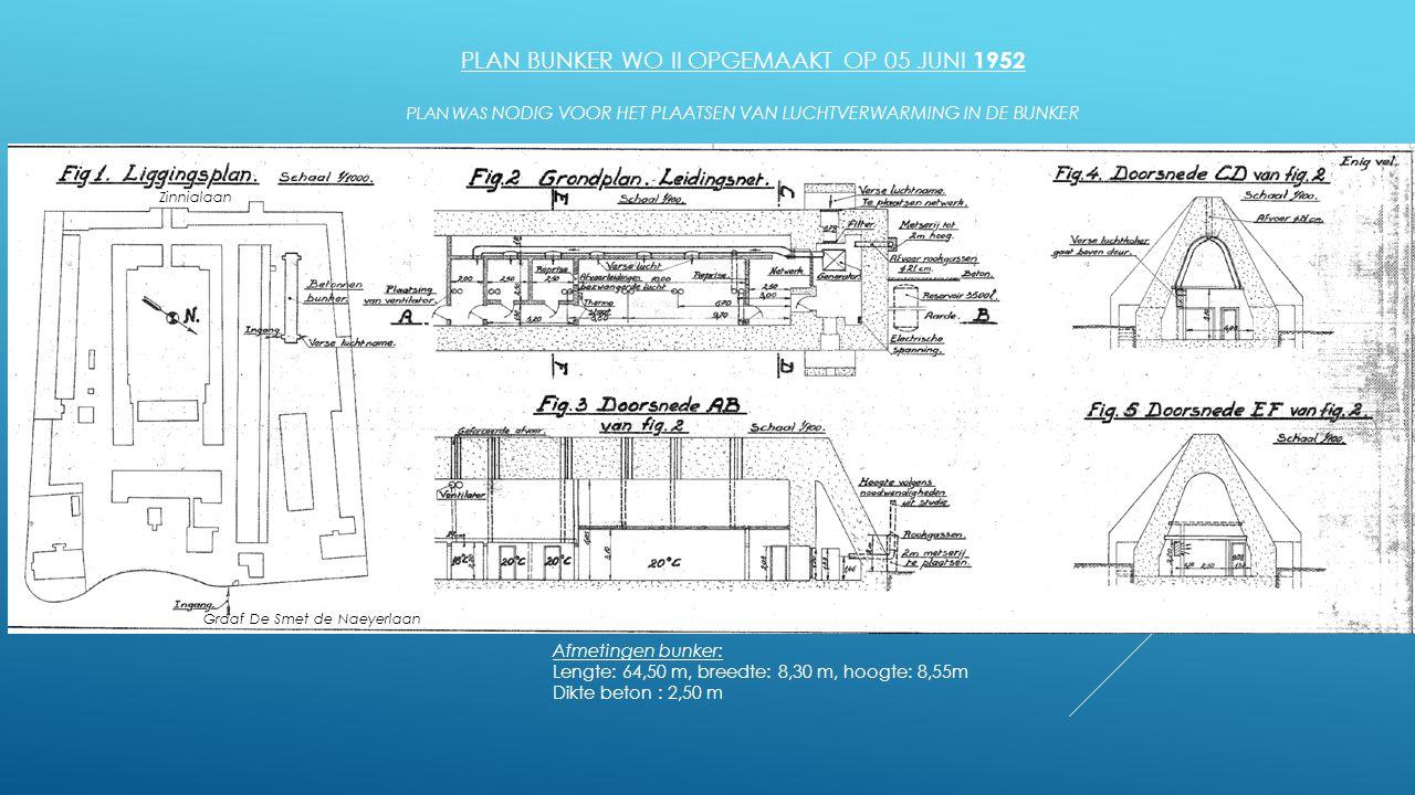 plan bunker WO II opgemaakt op 05 juni 1952 Plan was nodig voor het plaatsen van luchtverwarming in de bunker