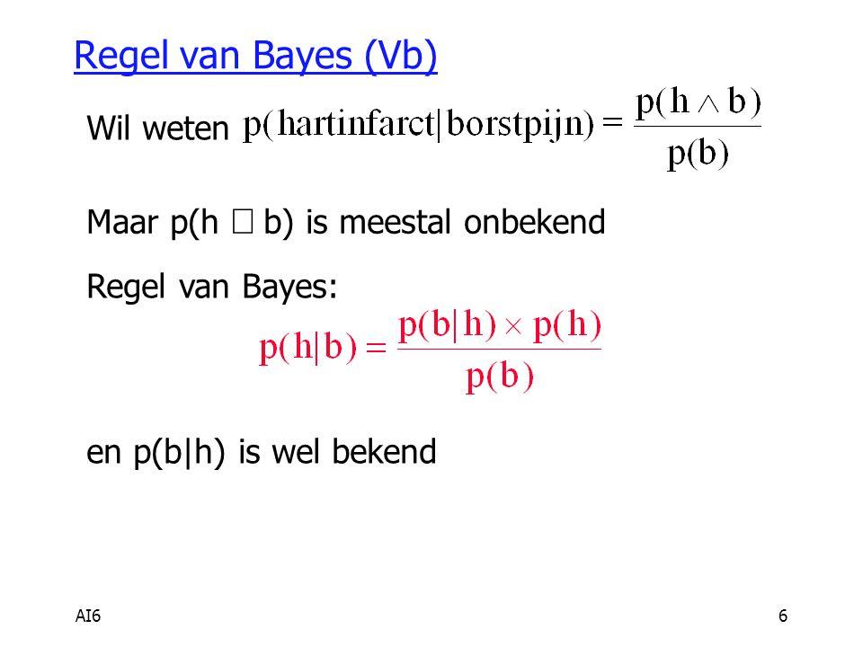 Regel van Bayes (Vb) Wil weten Maar p(h Ù b) is meestal onbekend