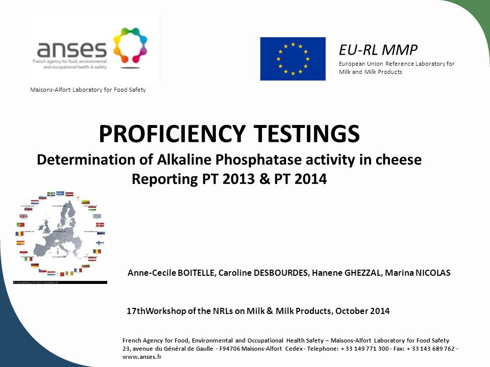 Determination of Alkaline Phosphatase activity in cheese