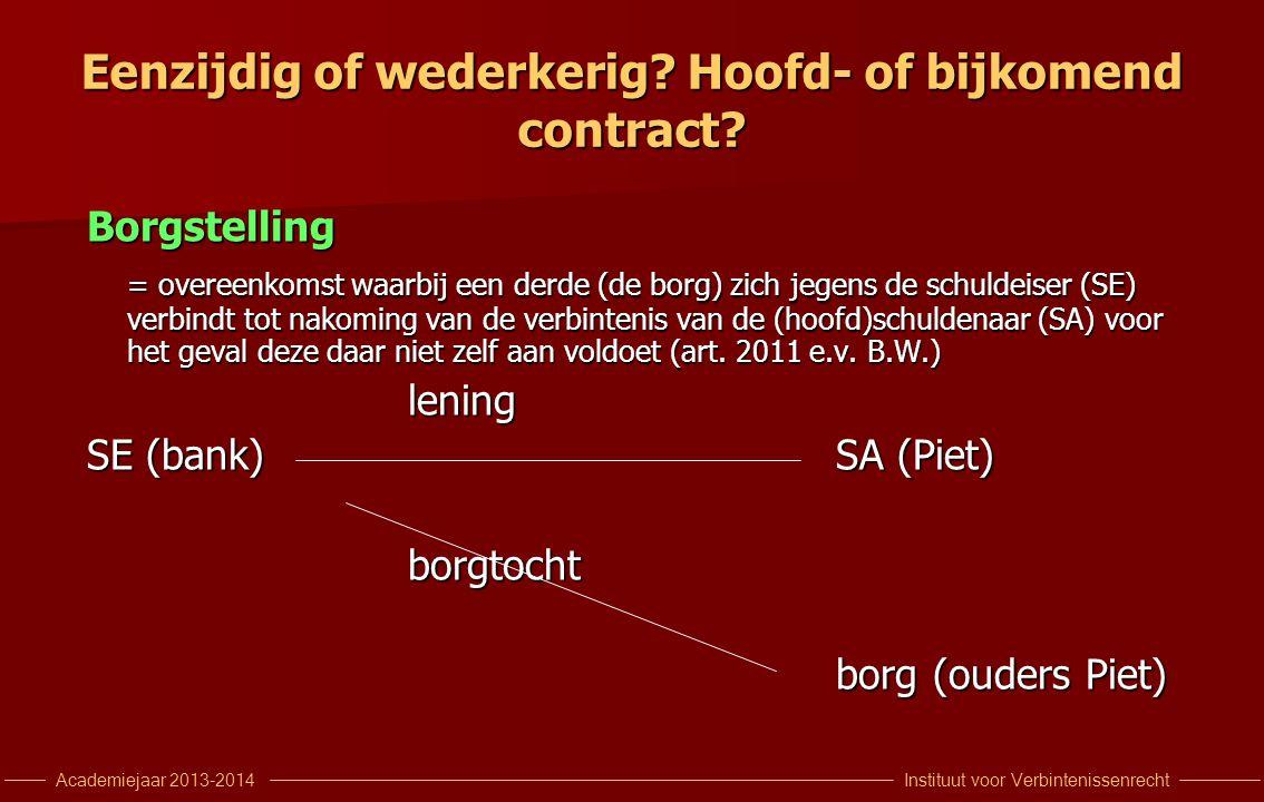 Eenzijdig of wederkerig Hoofd- of bijkomend contract