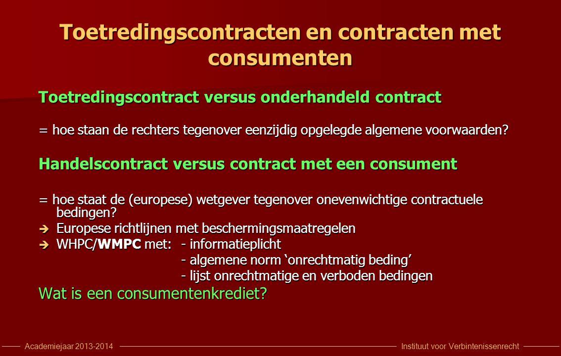 Toetredingscontracten en contracten met consumenten