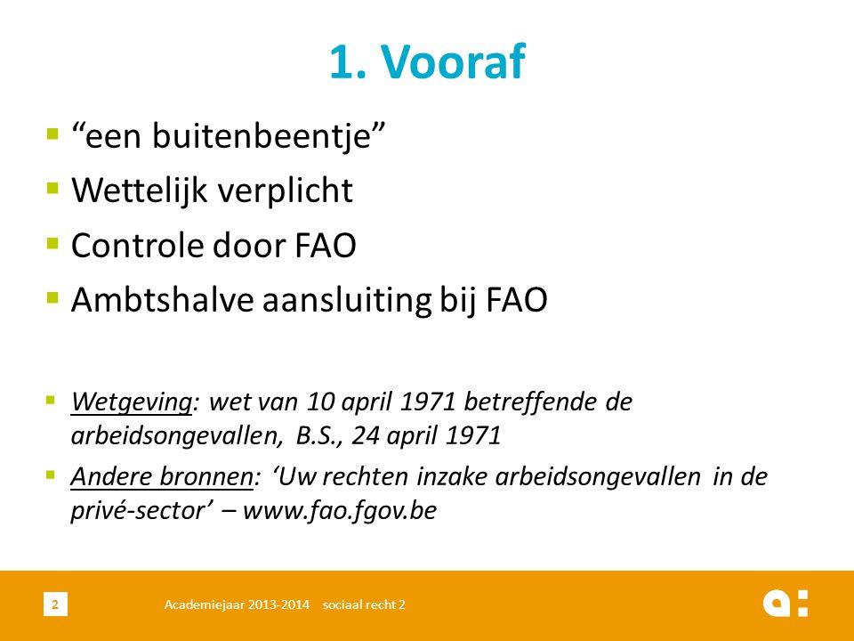 1. Vooraf een buitenbeentje Wettelijk verplicht Controle door FAO