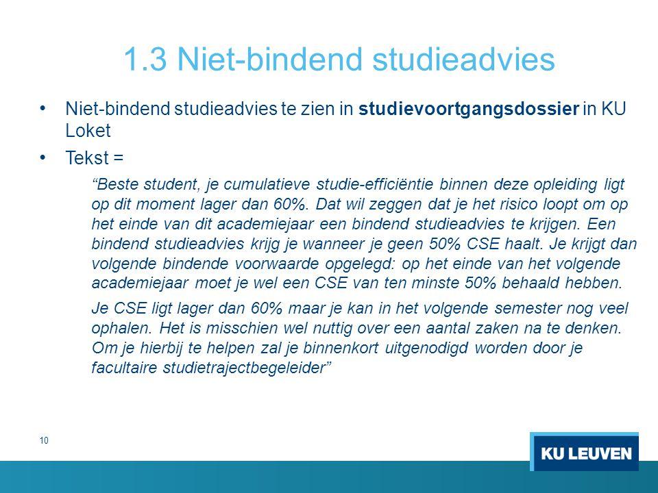 1.3 Niet-bindend studieadvies