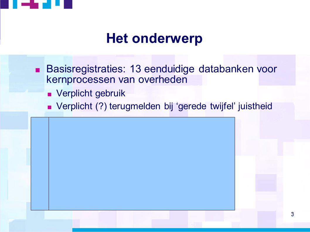 Het onderwerp Basisregistraties: 13 eenduidige databanken voor kernprocessen van overheden. Verplicht gebruik.