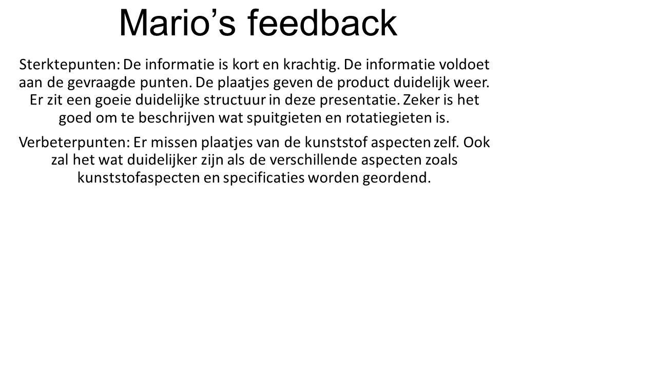 Mario's feedback