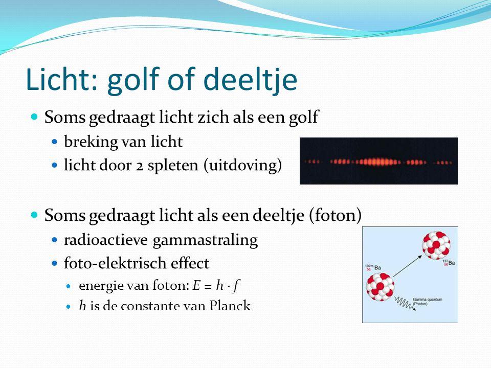 Licht: golf of deeltje Soms gedraagt licht zich als een golf