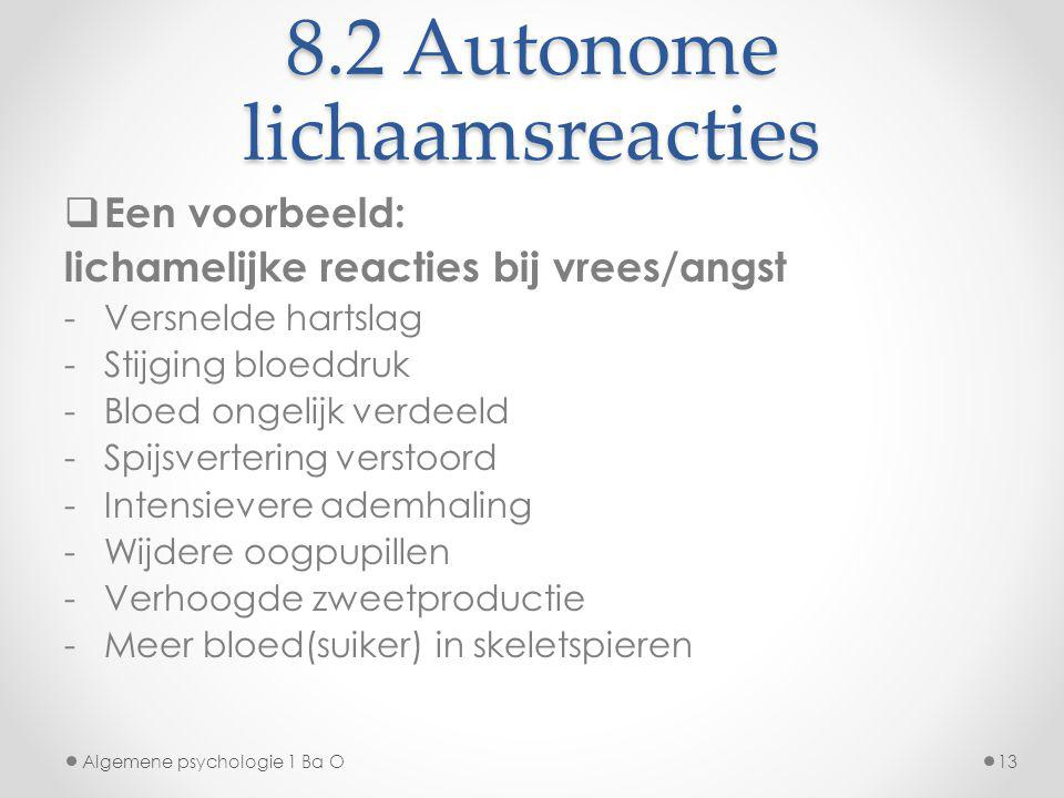 8.2 Autonome lichaamsreacties