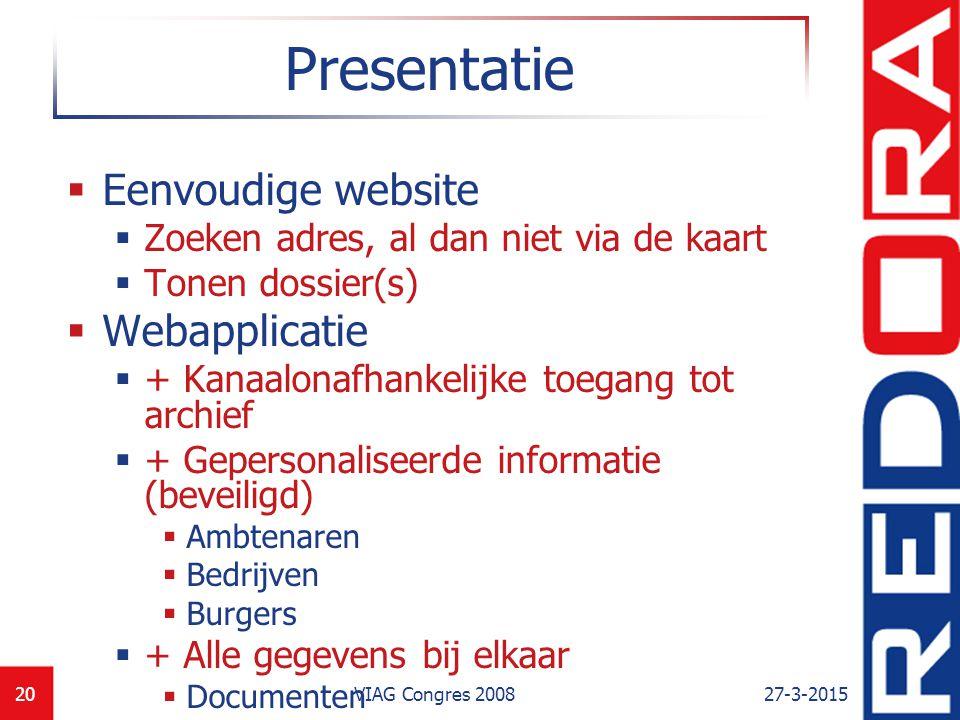 Presentatie Eenvoudige website Webapplicatie