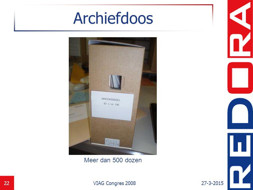 Archiefdoos Meer dan 500 dozen VIAG Congres 2008 8-4-2017