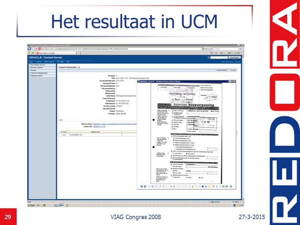 Het resultaat in UCM VIAG Congres 2008 8-4-2017