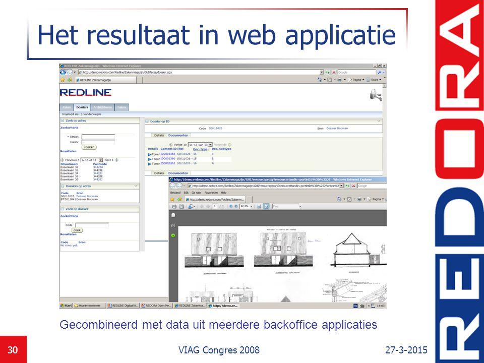 Het resultaat in web applicatie
