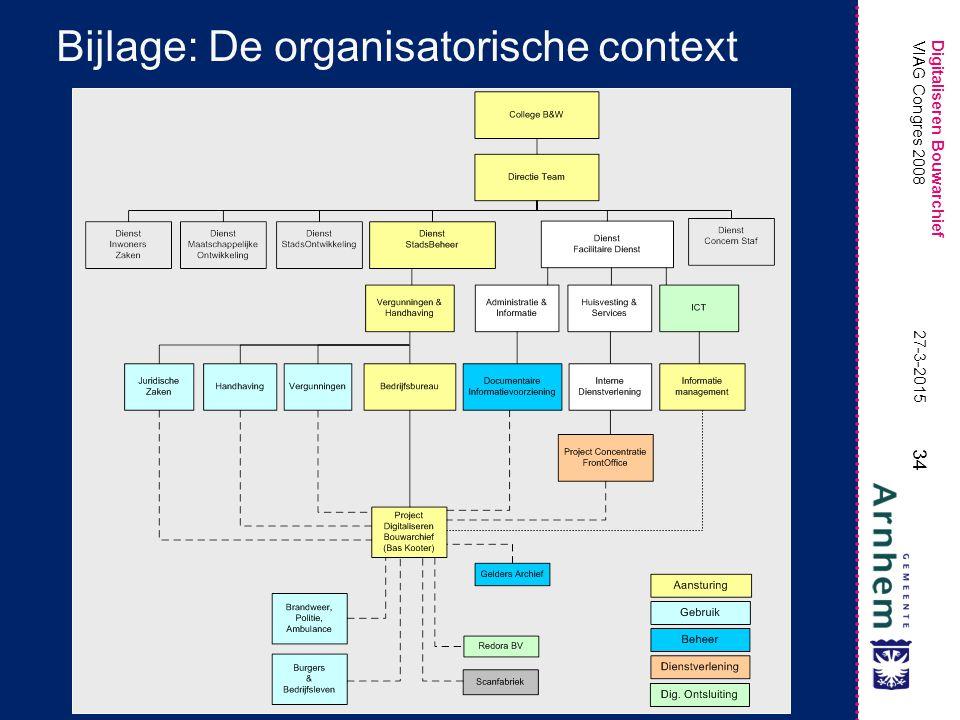 Bijlage: De organisatorische context