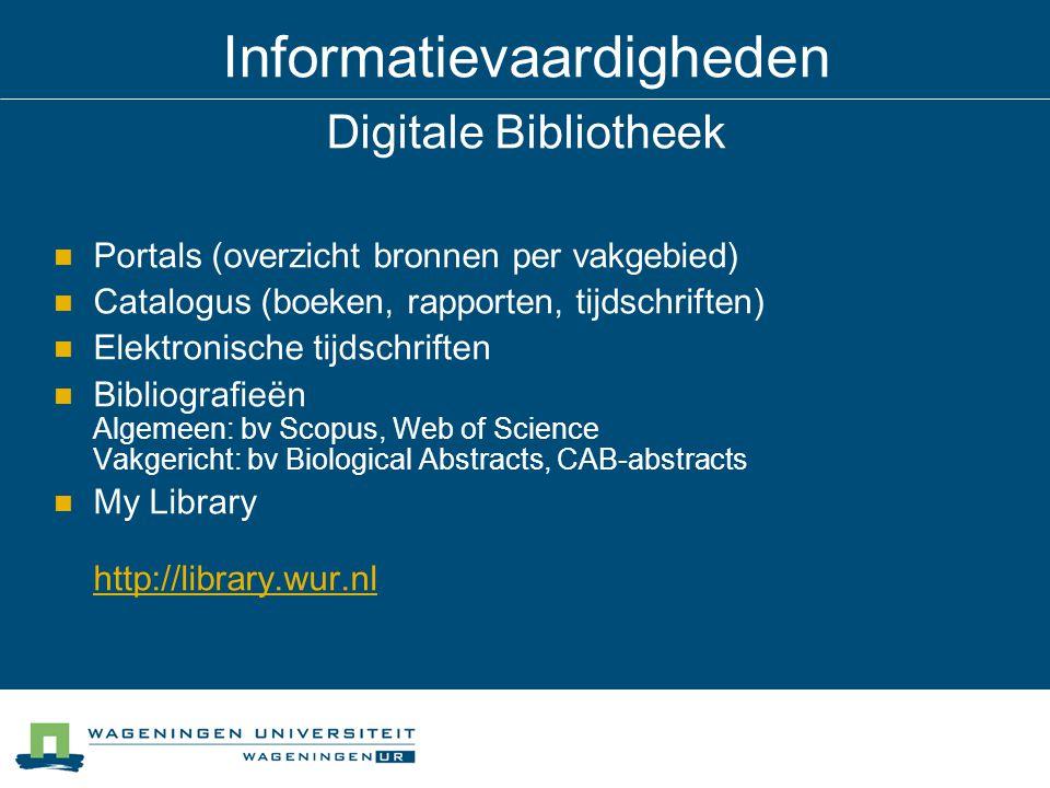 Informatievaardigheden Digitale Bibliotheek