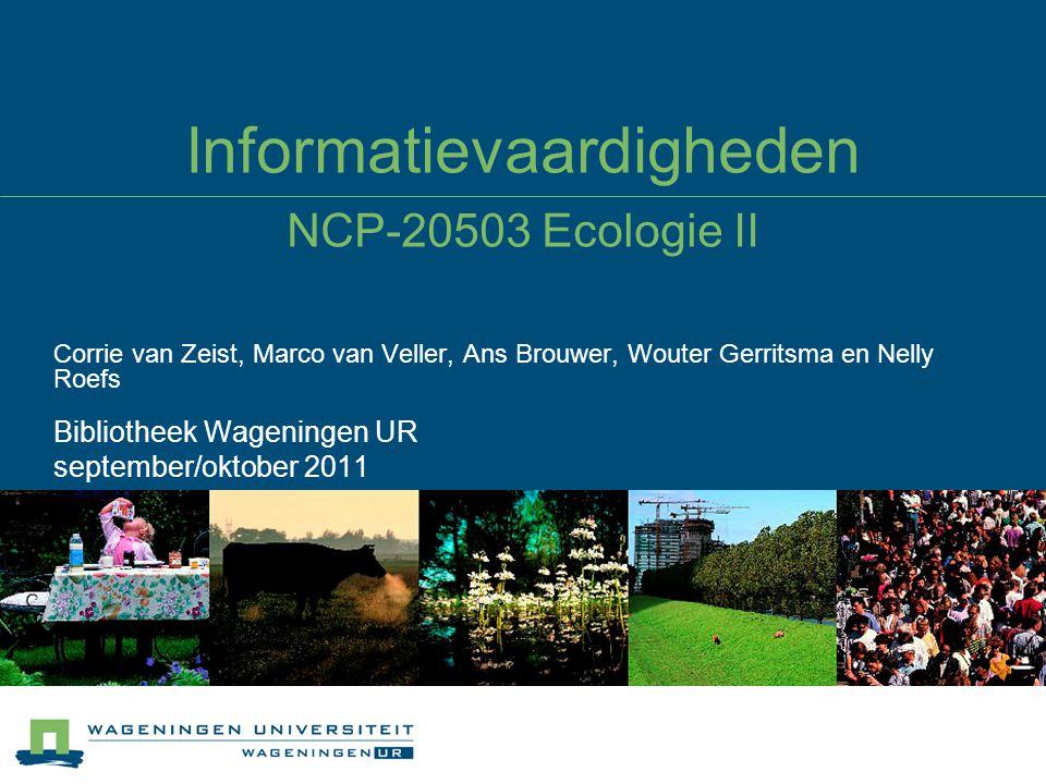 Informatievaardigheden NCP-20503 Ecologie II