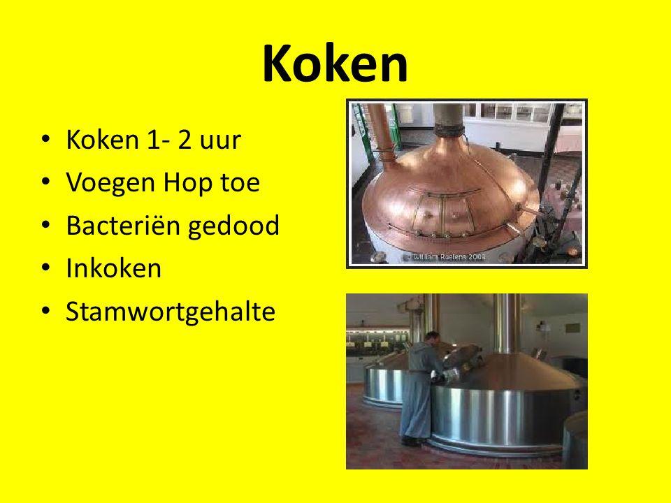 Koken Koken 1- 2 uur Voegen Hop toe Bacteriën gedood Inkoken