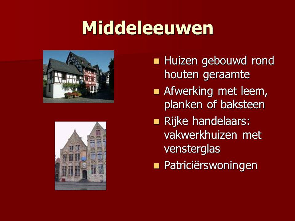 Middeleeuwen Huizen gebouwd rond houten geraamte