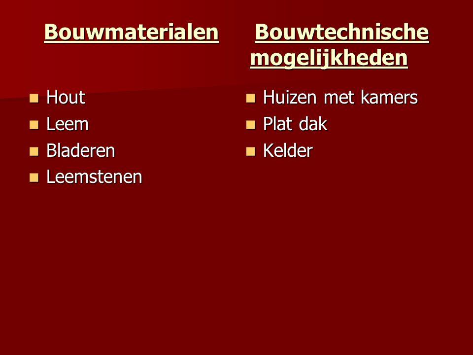 Bouwmaterialen Bouwtechnische mogelijkheden