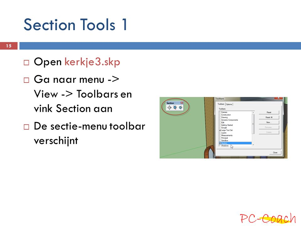 Section Tools 1 Open kerkje3.skp