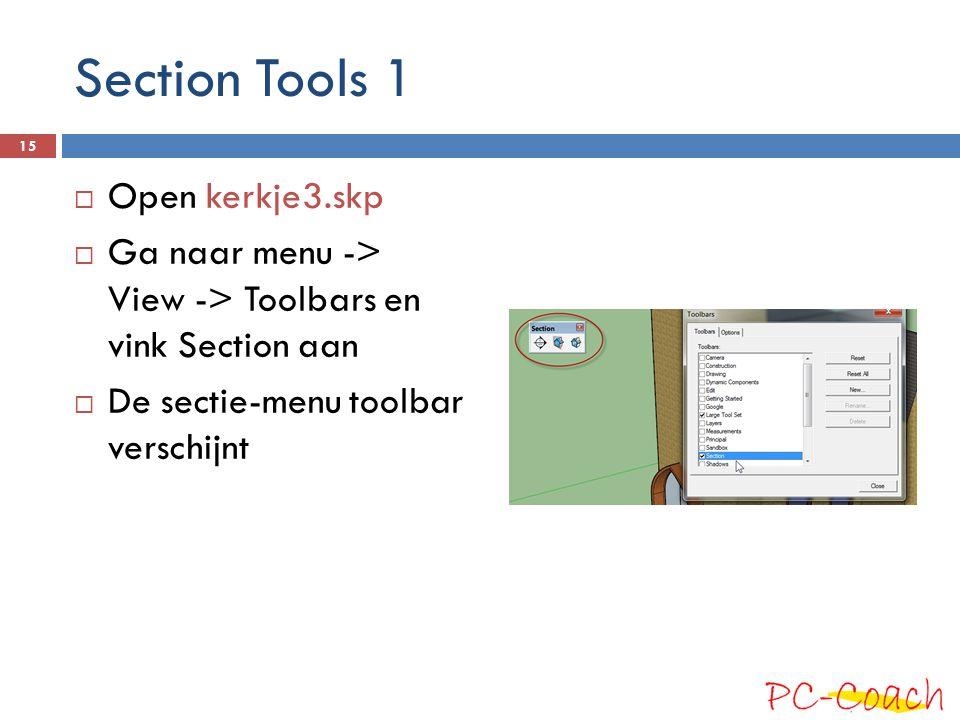 Section Tools 1 Open kerkje3.skp