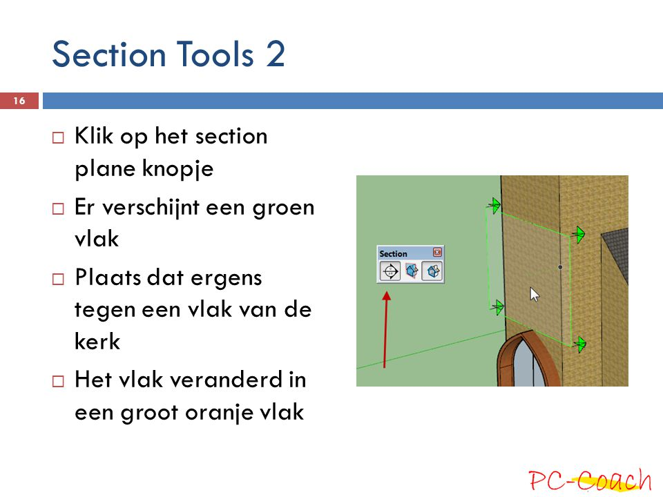 Section Tools 2 Klik op het section plane knopje