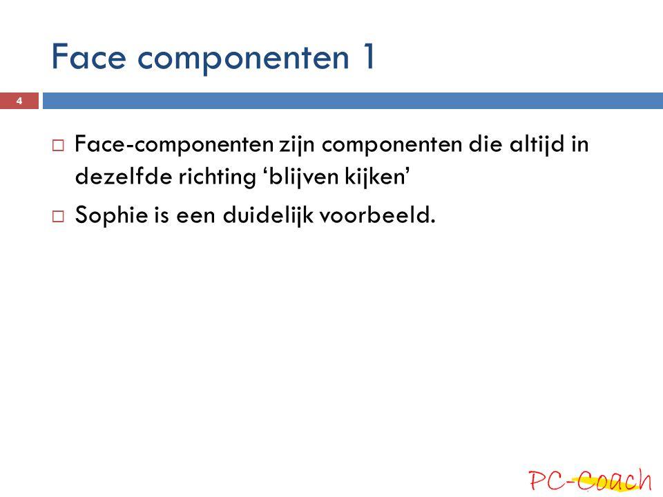 Face componenten 1 Face-componenten zijn componenten die altijd in dezelfde richting 'blijven kijken'