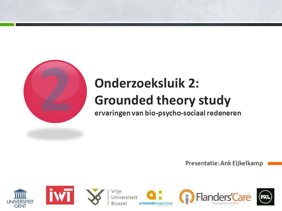 2 Onderzoeksluik 2: Grounded theory study ervaringen van bio-psycho-sociaal redeneren.
