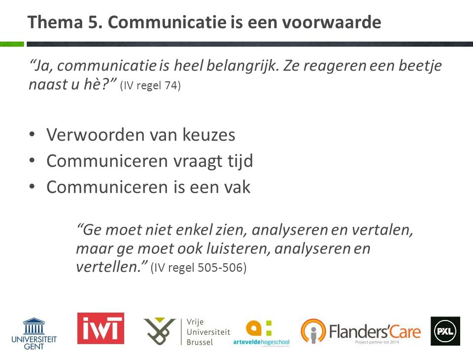 Thema 5. Communicatie is een voorwaarde
