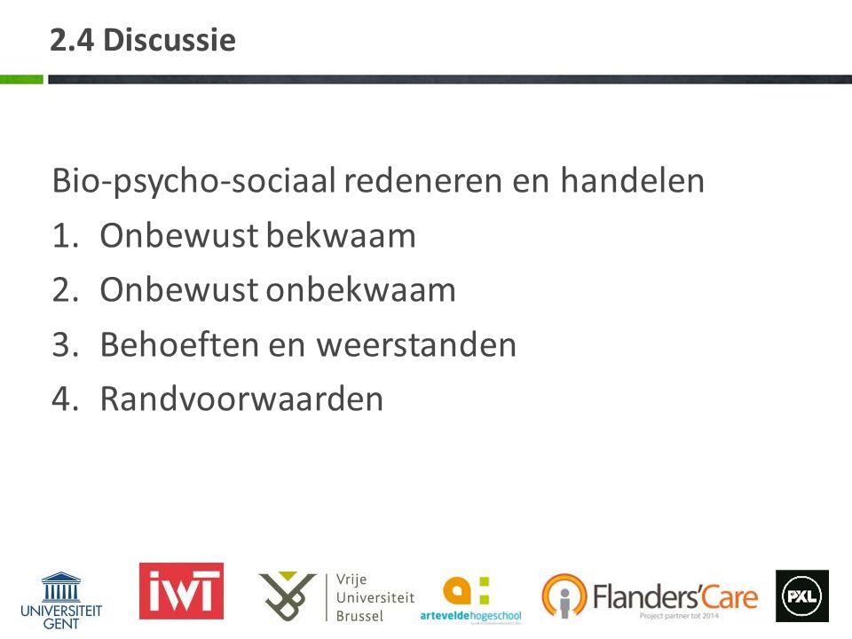 Bio-psycho-sociaal redeneren en handelen Onbewust bekwaam