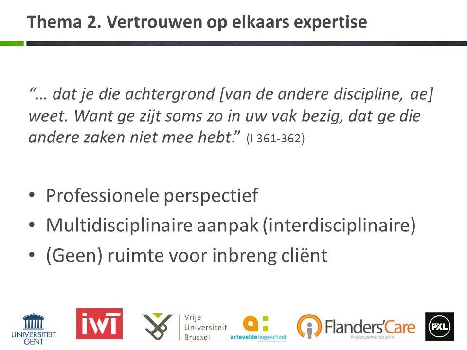 Thema 2. Vertrouwen op elkaars expertise