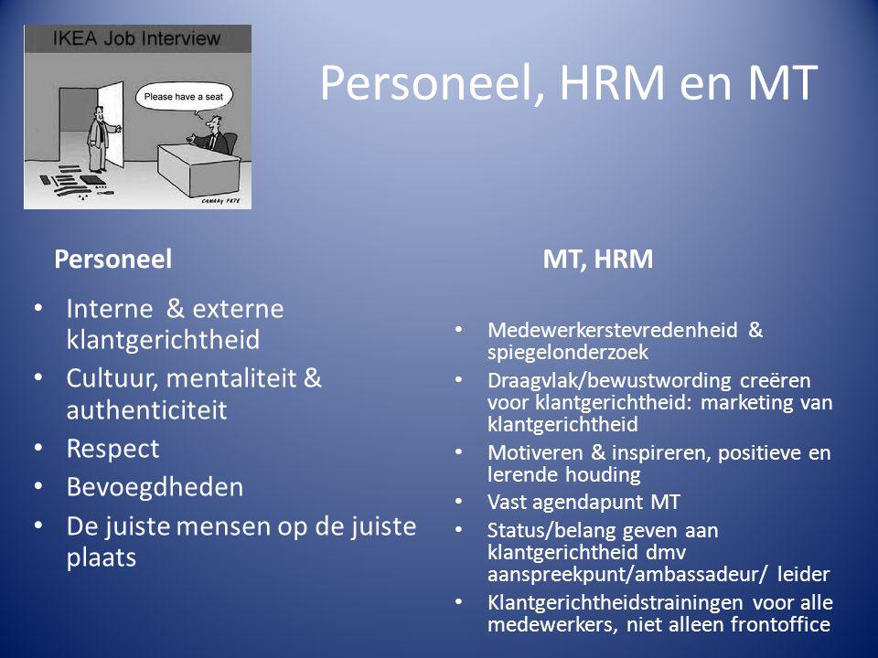 Personeel, HRM en MT Interne & externe klantgerichtheid