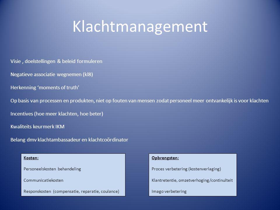Klachtmanagement Visie , doelstellingen & beleid formuleren