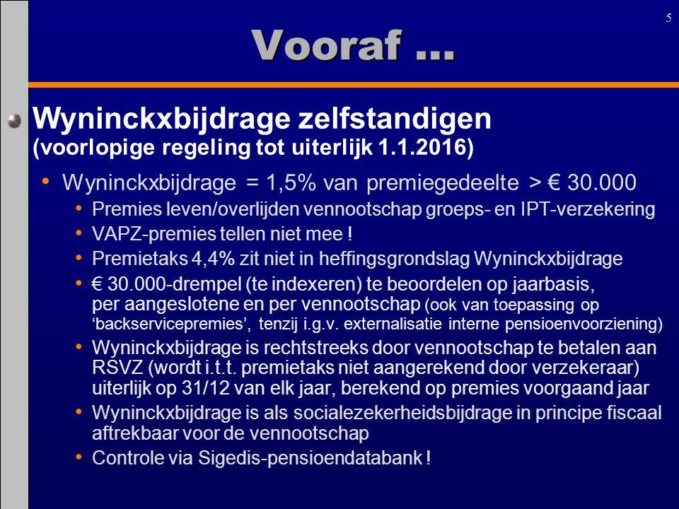 5 Vooraf … Wyninckxbijdrage zelfstandigen (voorlopige regeling tot uiterlijk 1.1.2016) Wyninckxbijdrage = 1,5% van premiegedeelte > € 30.000.