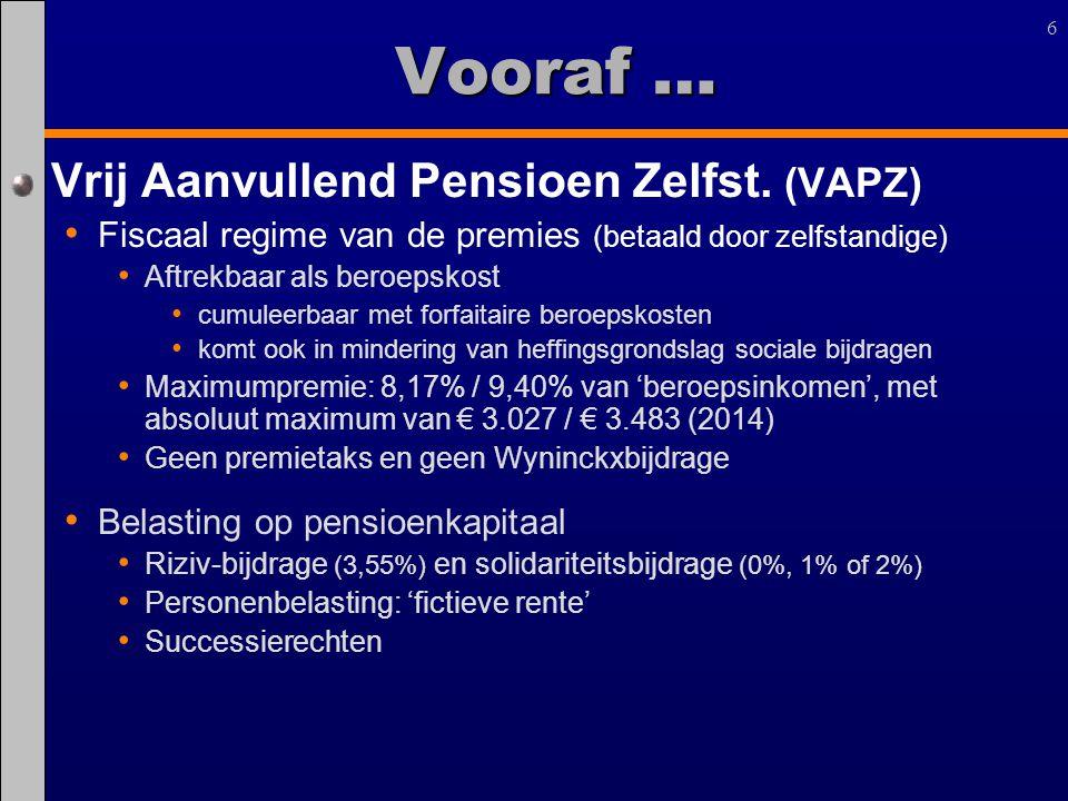 Vooraf … Vrij Aanvullend Pensioen Zelfst. (VAPZ)