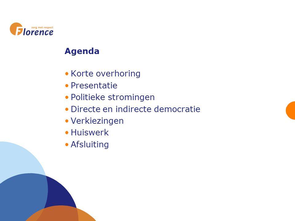 Agenda Korte overhoring. Presentatie. Politieke stromingen. Directe en indirecte democratie. Verkiezingen.
