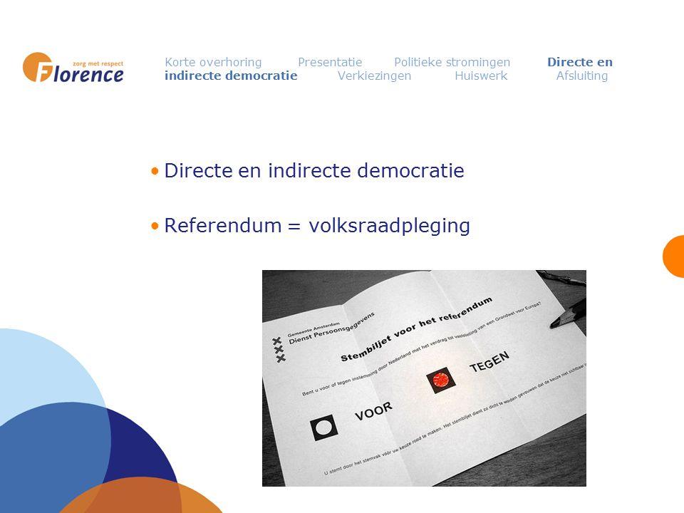 Directe en indirecte democratie Referendum = volksraadpleging