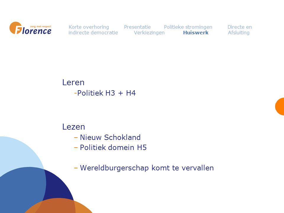 Leren Lezen Politiek H3 + H4 Nieuw Schokland Politiek domein H5