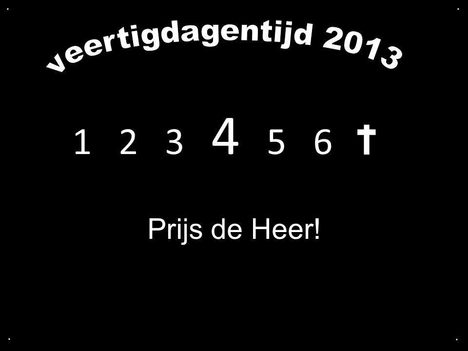 . . veertigdagentijd 2013 1 2 3 4 5 6 Prijs de Heer! . .