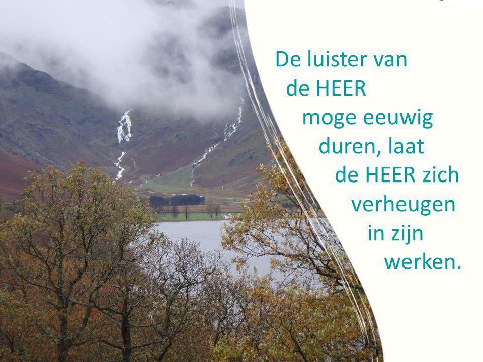 De luister van de HEER moge eeuwig duren, laat de HEER zich verheugen in zijn werken.
