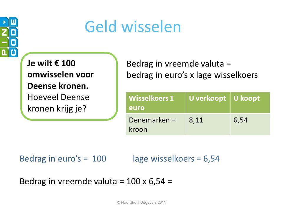Geld wisselen Je wilt € 100 omwisselen voor Deense kronen.