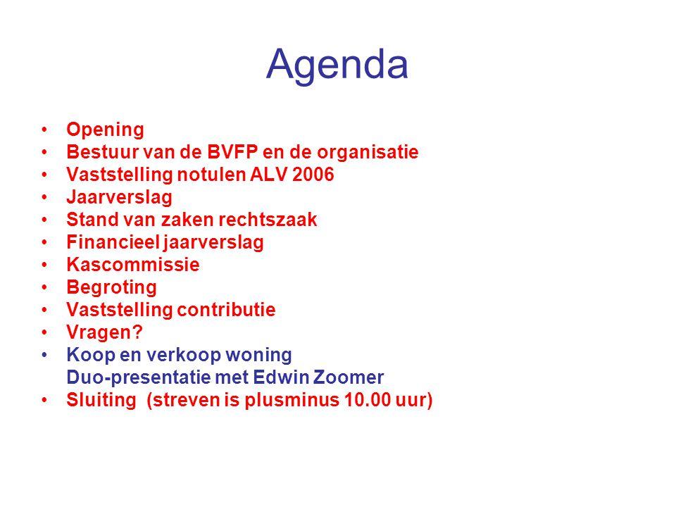 Agenda Opening Bestuur van de BVFP en de organisatie