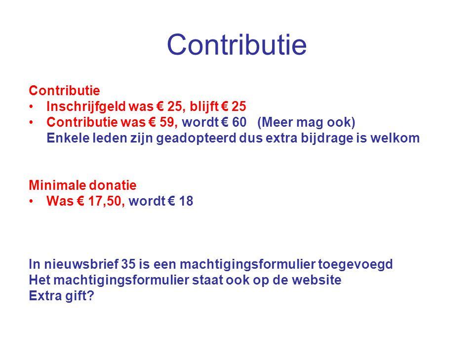 Contributie Contributie Inschrijfgeld was € 25, blijft € 25