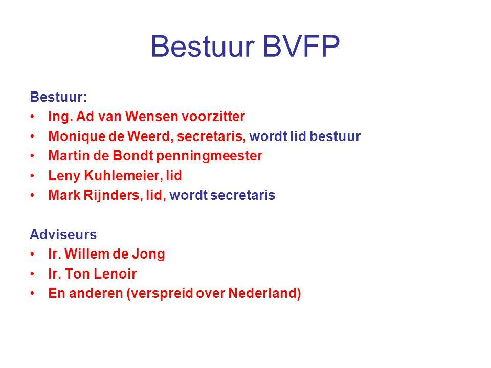 Bestuur BVFP Bestuur: Ing. Ad van Wensen voorzitter