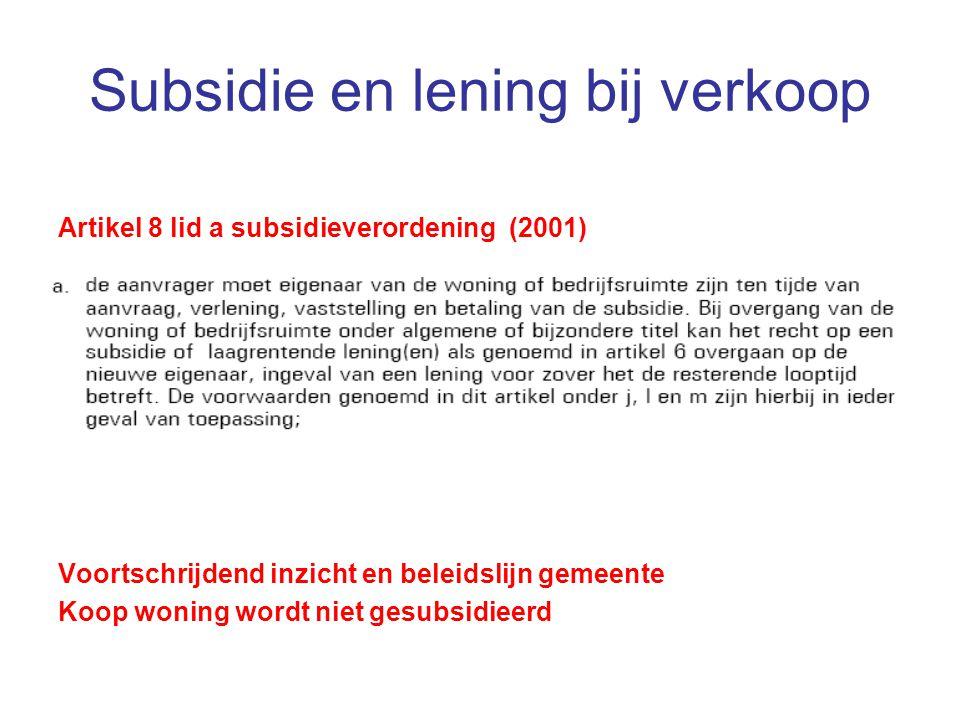 Subsidie en lening bij verkoop