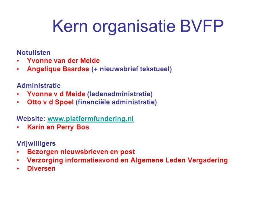 Kern organisatie BVFP Notulisten Yvonne van der Meide