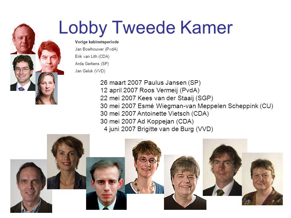 Lobby Tweede Kamer Vorige kabinetsperiode. Jan Boelhouwer (PvdA) Erik van Lith (CDA) Arda Gerkens (SP)