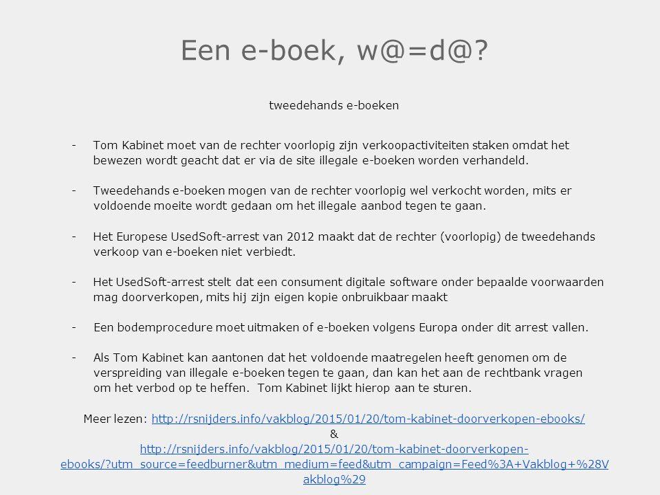 Een e-boek, w@=d@ tweedehands e-boeken